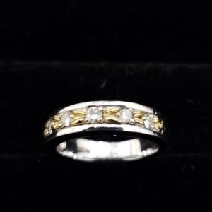 14k white and yellow gold band with diamonds